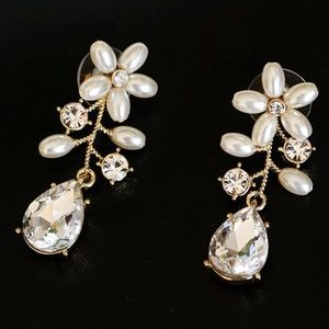 NEW Miriam Haskell Crystal & Faux Pearl Ear Jacket